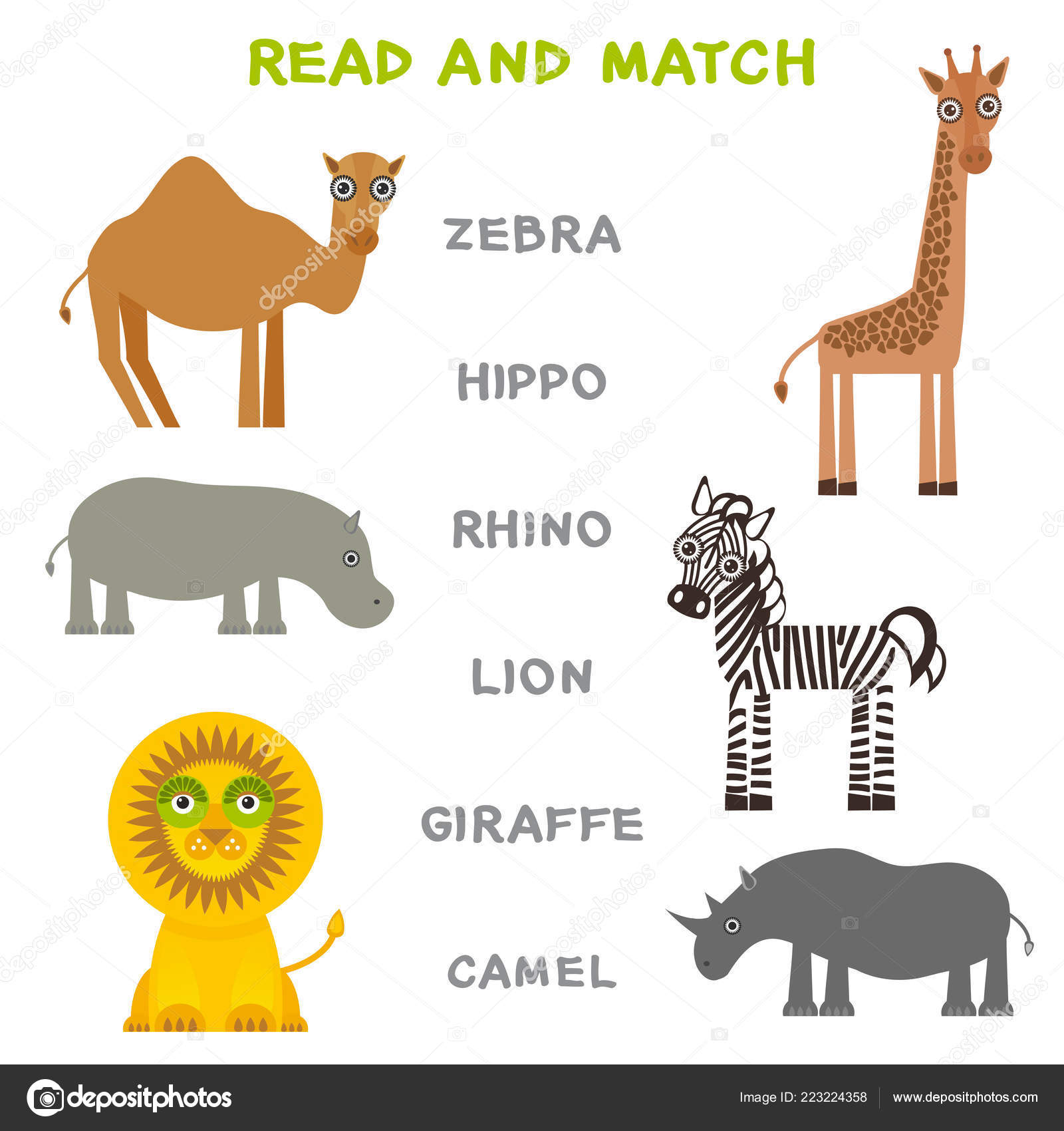 Kids Words Learning Game Worksheet Read Match Funny