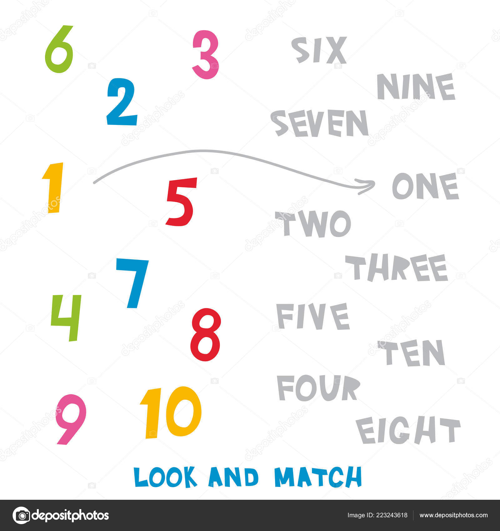 Matching Number Words Worksheets For Kindergarten