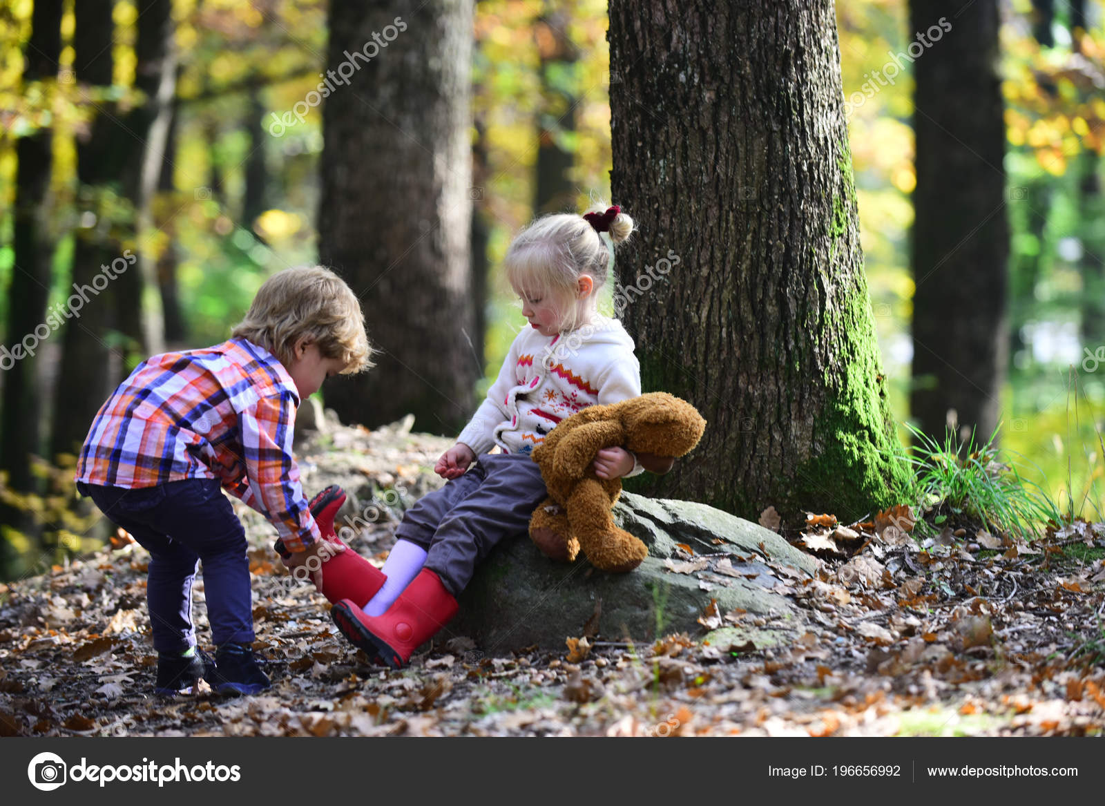 Siblings Care Each Other Portrait Brother Feeling Caring