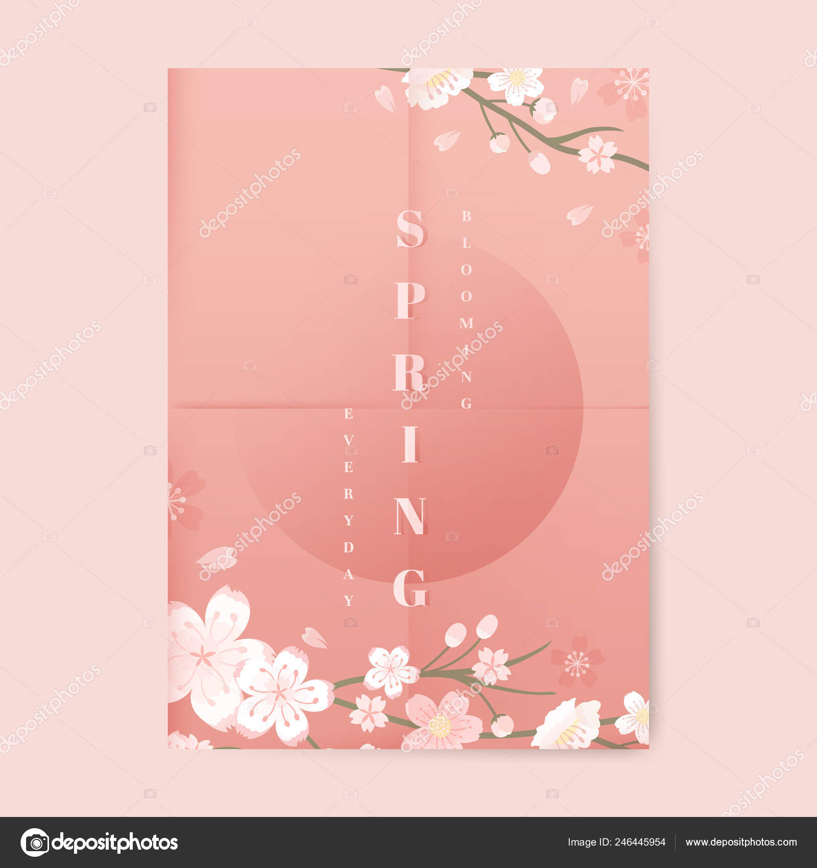 pink cherry blossom poster template vector vector image by c rawpixel vector stock 246445954