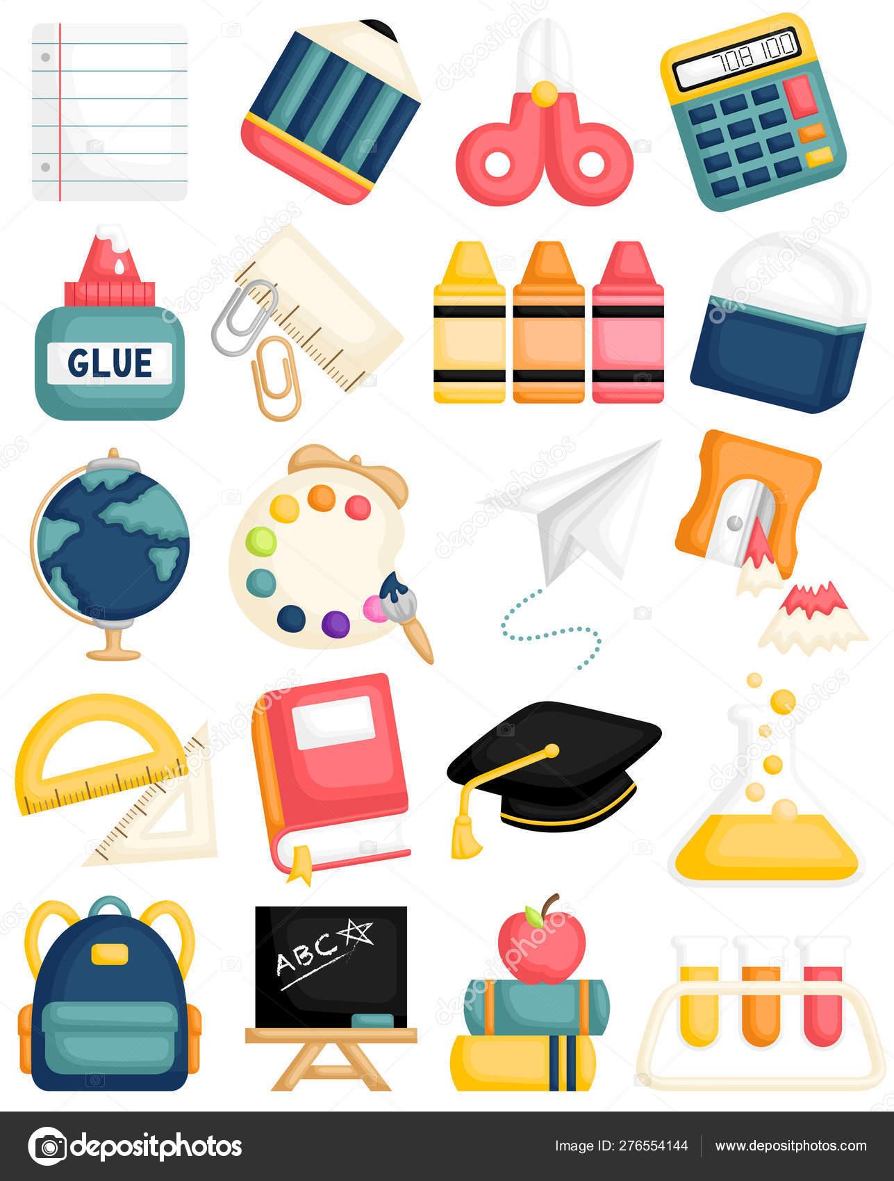 Cartoon Vector Set Cute Back School Supplies Kids Learning