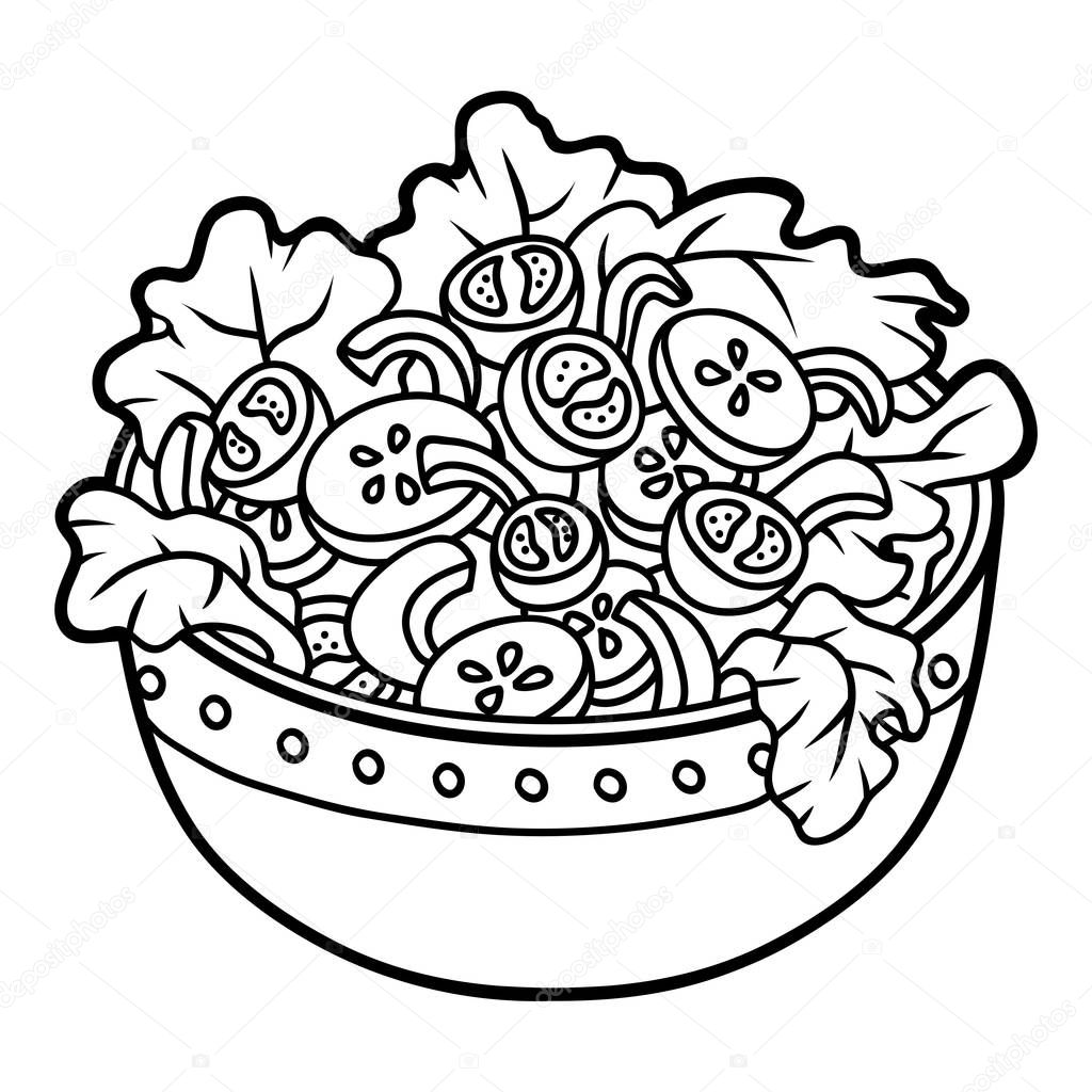 Coloring Book Children Vegetables Salad Bowl