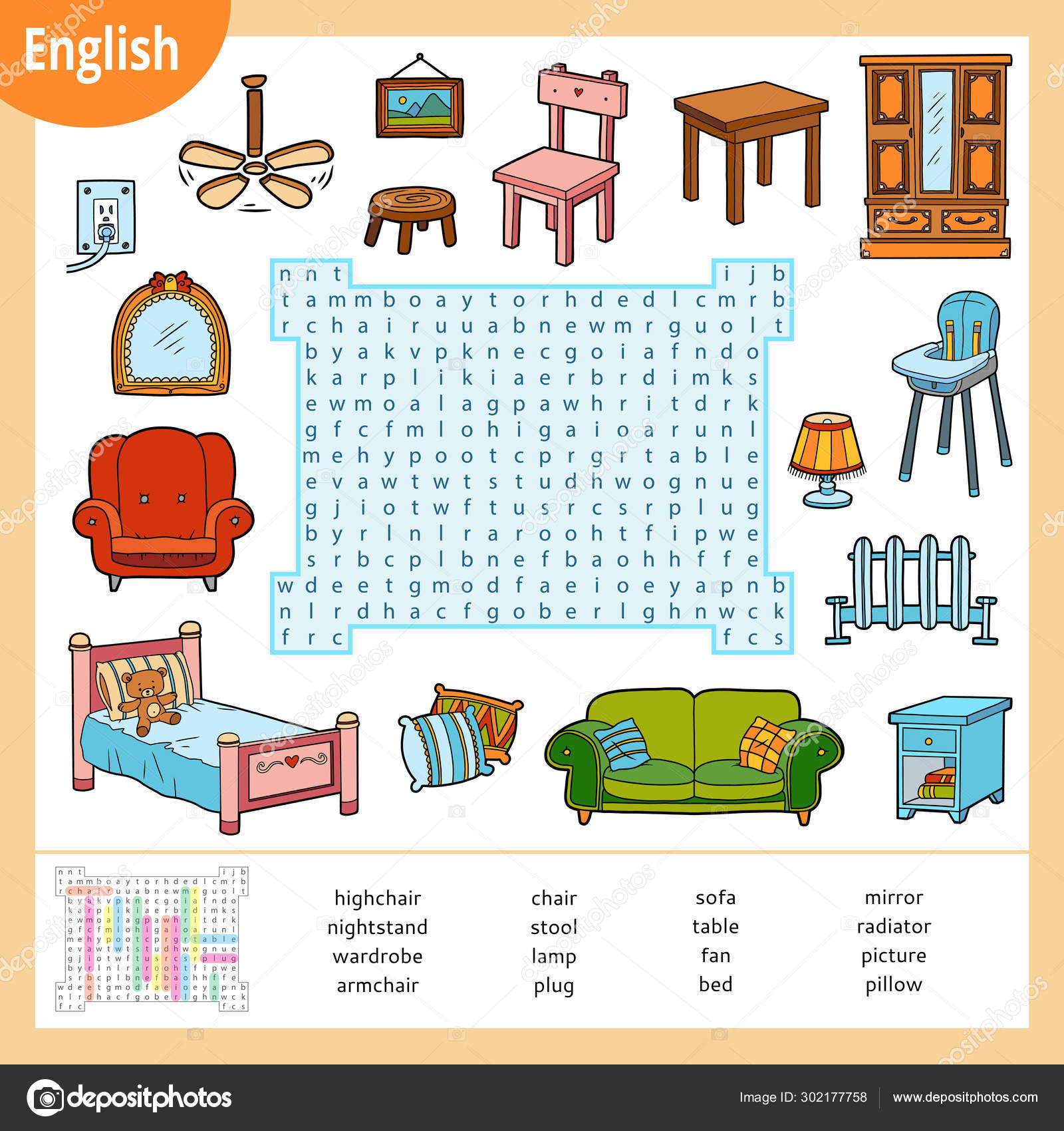 Word Search Puzzle Cartoon Set Of Furniture Education