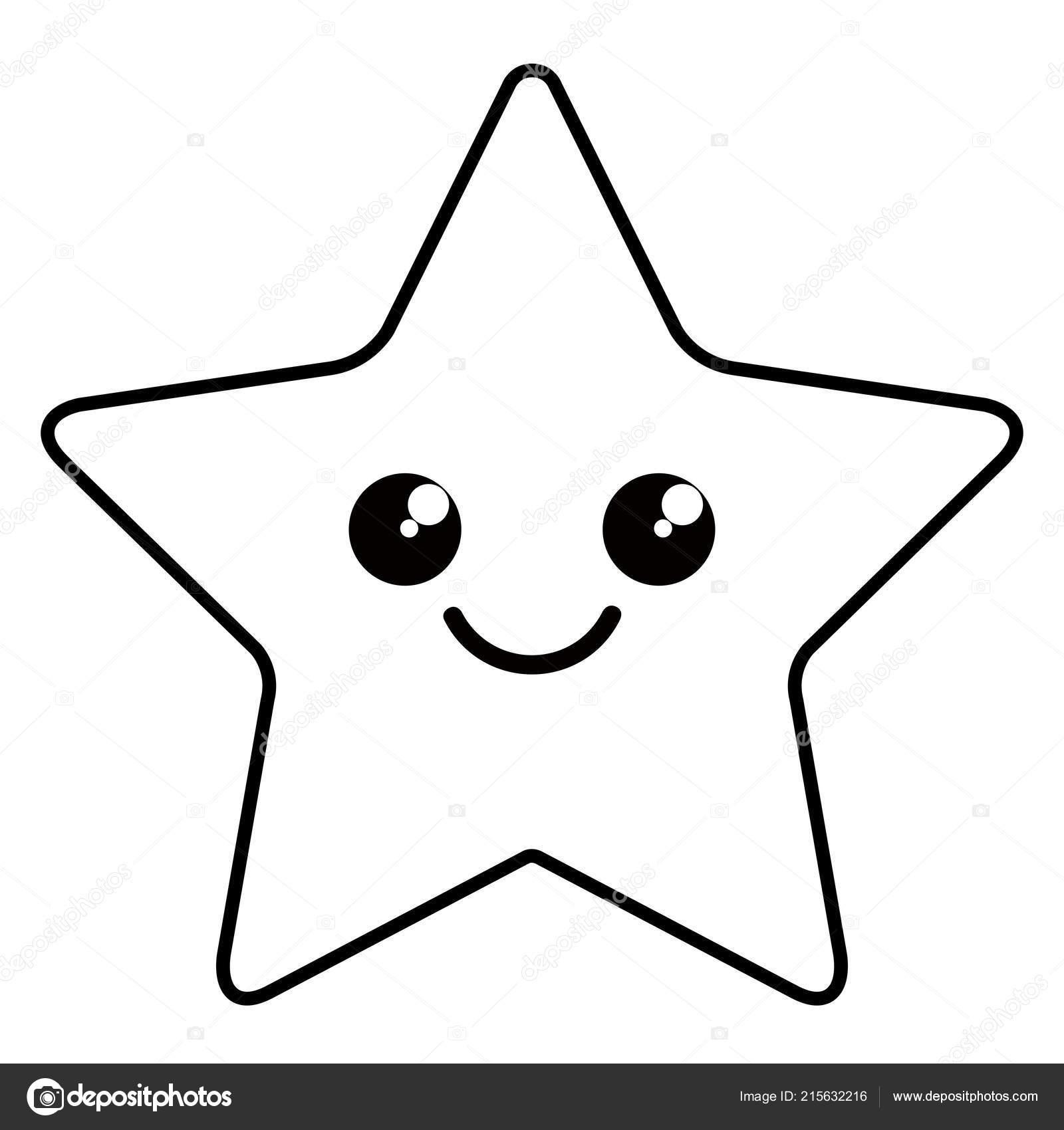 Cute Happy Star Shape Icon Stock Vector C Laudiseno 215632216