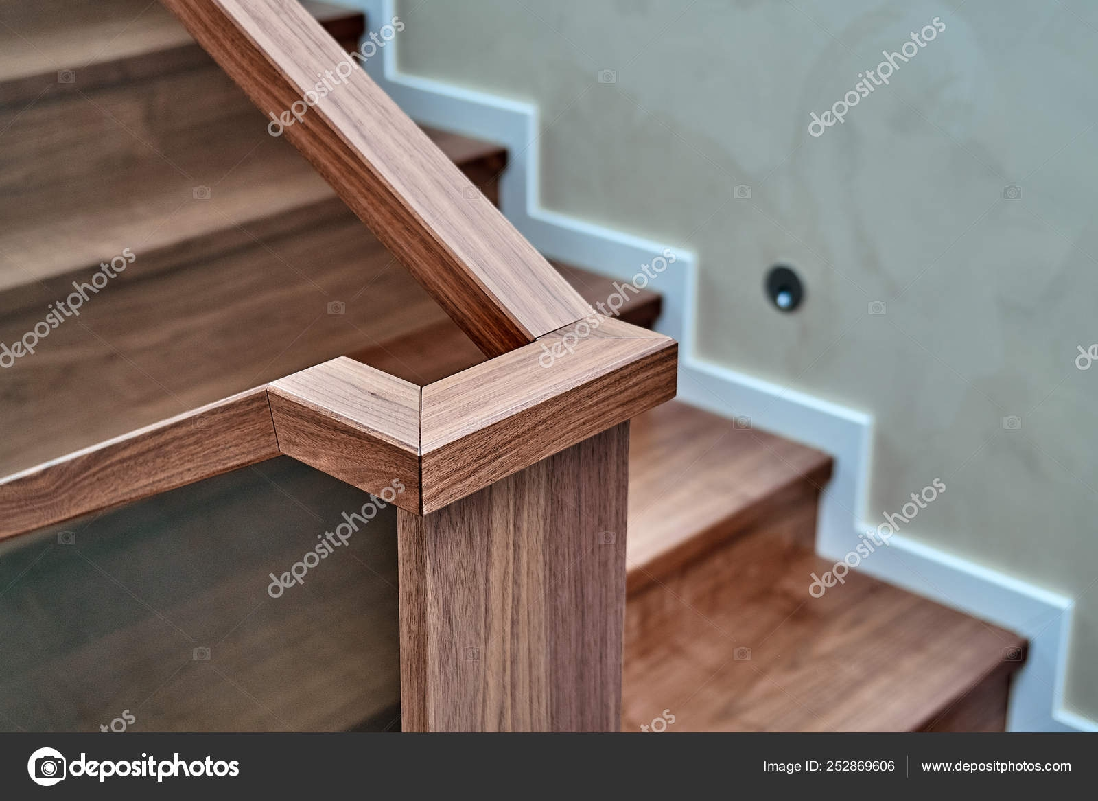 Part Of Wooden Steps With Glass Railings Walnut Staircase — Stock   Wooden Staircase With Glass   Oak   Glass Design Golden   Tempered Glass   Unusual Interior   Detail