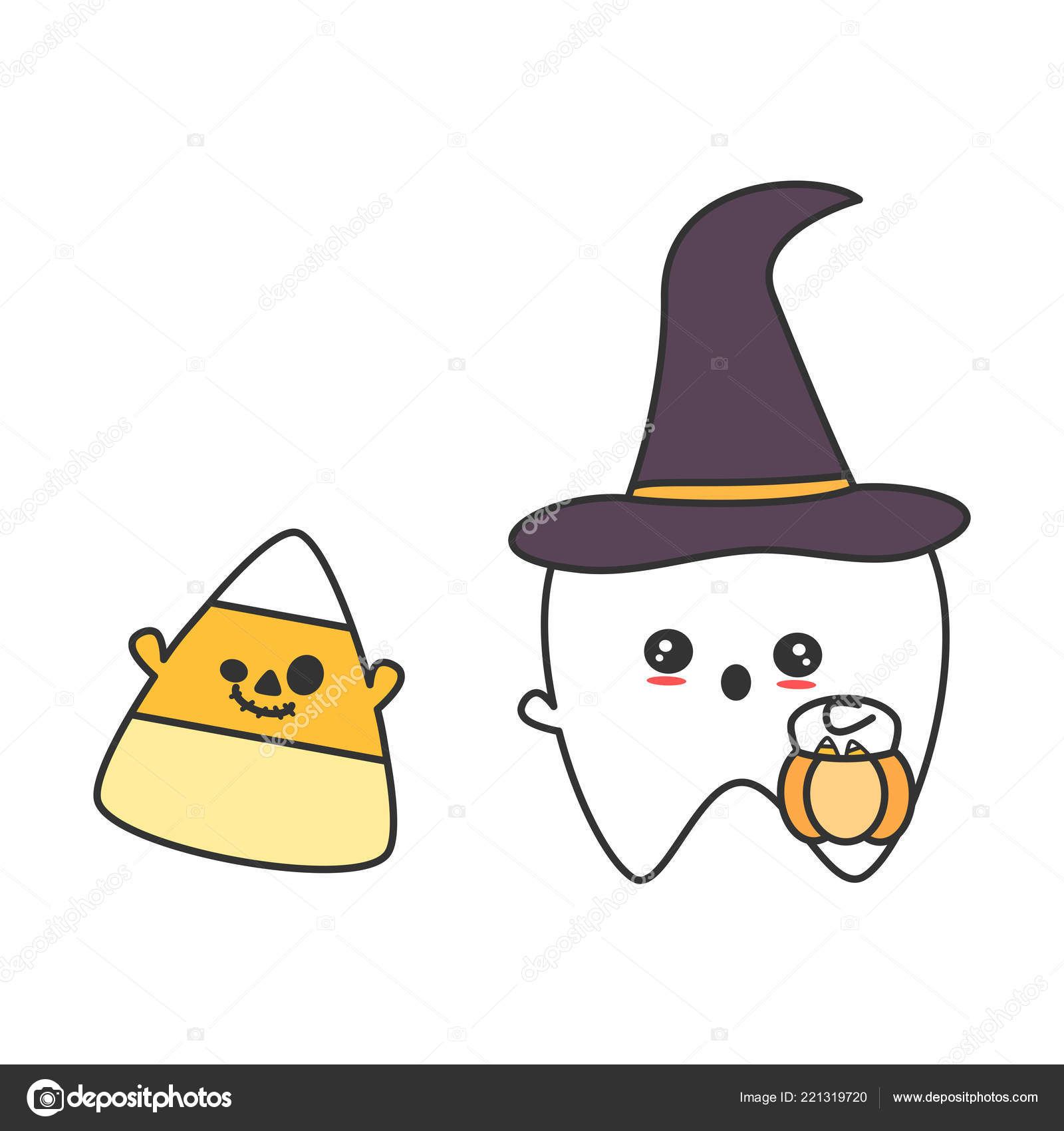 Cute Cartoon Tooth Witch Hat Candy Corn Funny Halloween Vector Stock Vector C Alicev1978 221319720