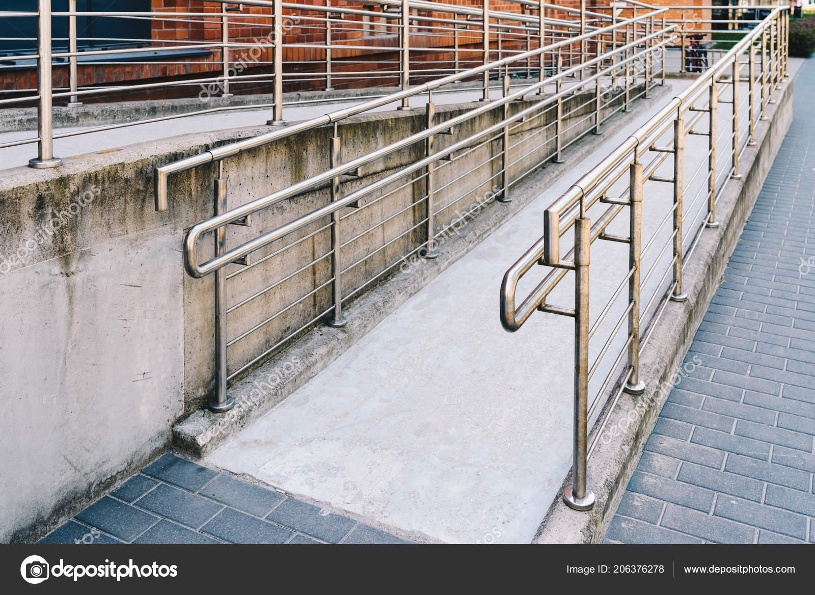 Concrete Ramp Way Stainless Steel Handrail Support Wheelchair | Stainless Steel Hand Railing | Balustrade | Modern | Fabrication | Welded Steel | Stair Outdoors