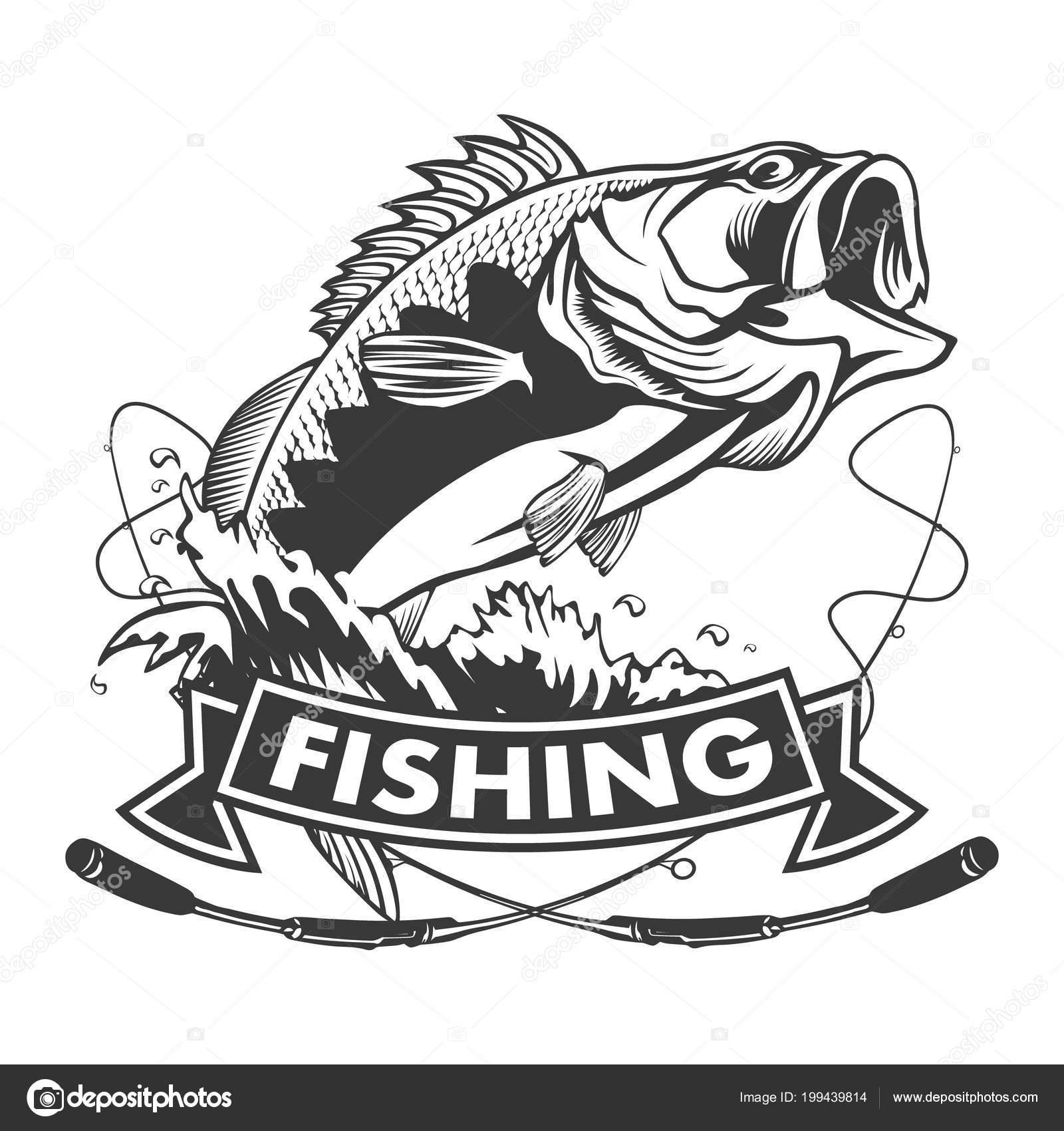 Fishing Logo Bass Fish Rod Club Emblem Fishing Theme