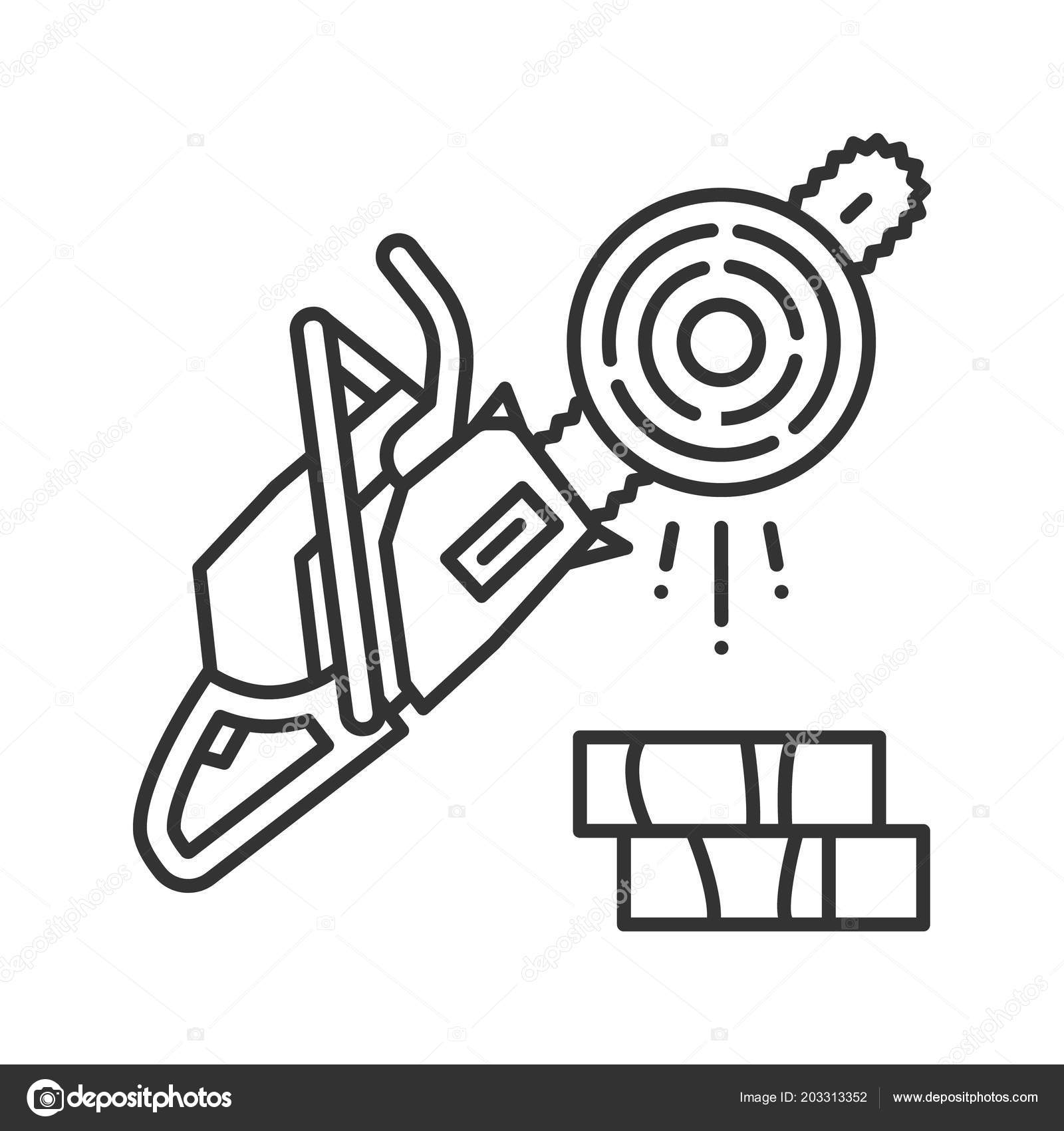 Chainsaw Linear Icon Logging Thin Line Illustration Petrol