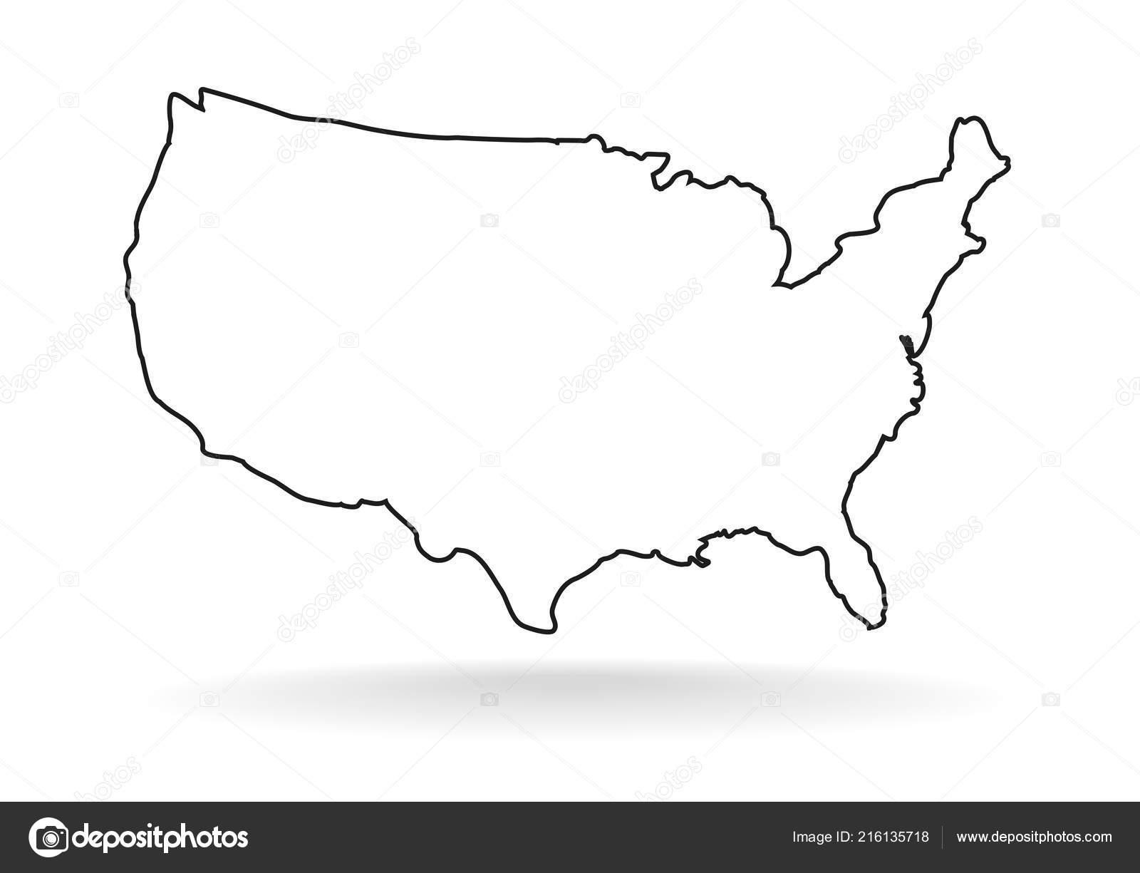 Symbol Usa Karte Umriss Stil Auf Wei Em Hintergrund
