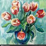 Still Life Drawing Flower Vase Talented Artist Painted Still Life Flowers Vase Colorful Canvas Paints Stock Photo C Olgaosa 199119300