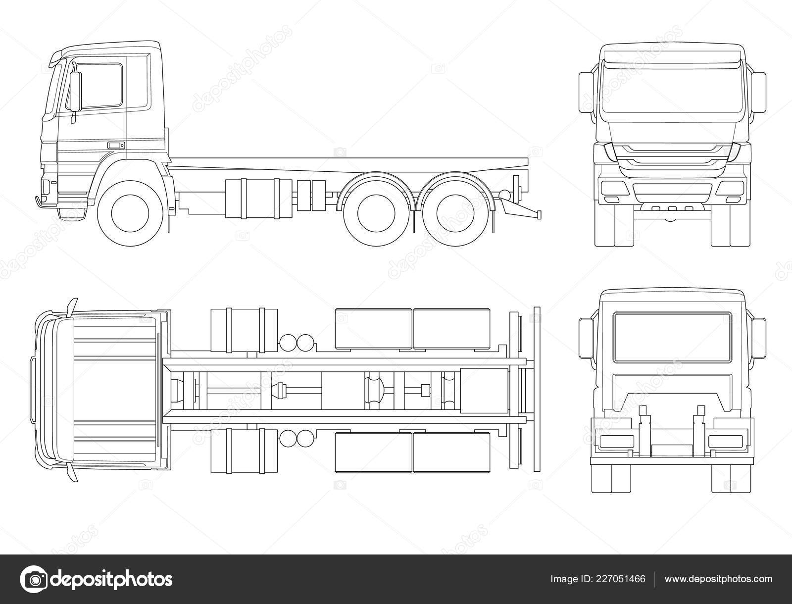 Truck Tractor Or Semi Trailer Truck In Outline Combination