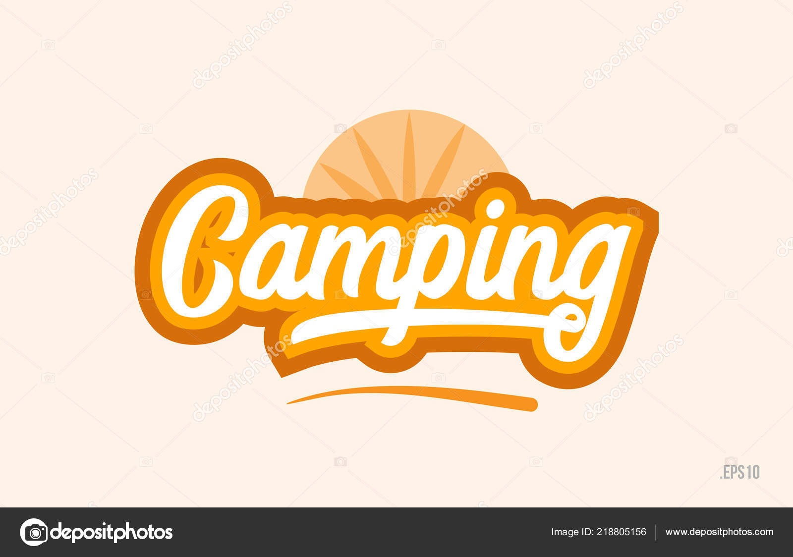 Camping Word Orange Color Suitable Card Icon Typography