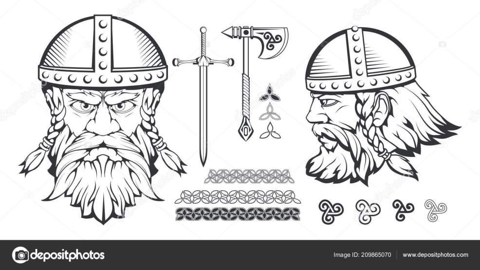 рисованной викингов шлеме скандинавские традиционное оружие