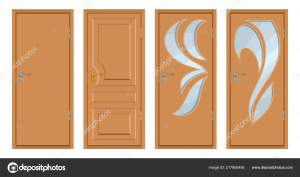 Colored Wooden Doors Isolated White Background Realistic Wooden Door Colour Stock Vector C Korniakovstock Gmail Com 217950456