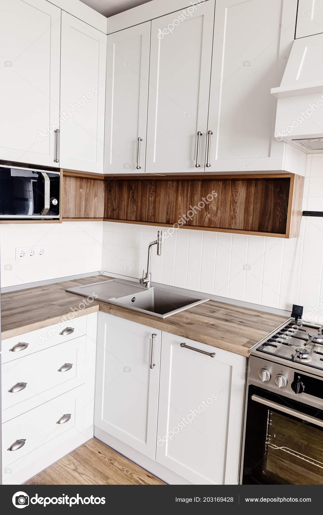 Kitchen Design Modern Scandinavian Style Stylish Light Grey Kitchen Interior Stock Photo C Sonyachny 203169428