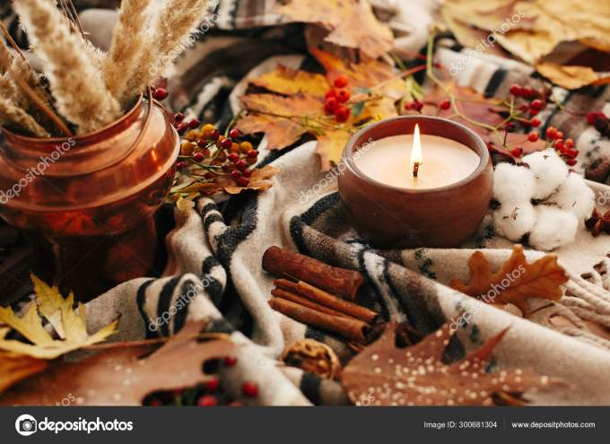 Hello Autumn Candle With Berries Fall Leaves Anise Herbs Aco Stock Photo By C Sonyachny 300681304