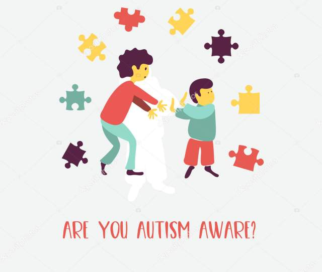 Autism Early Signs Autism Syndrome Children Vector Emblem Children Autism Stock Vector