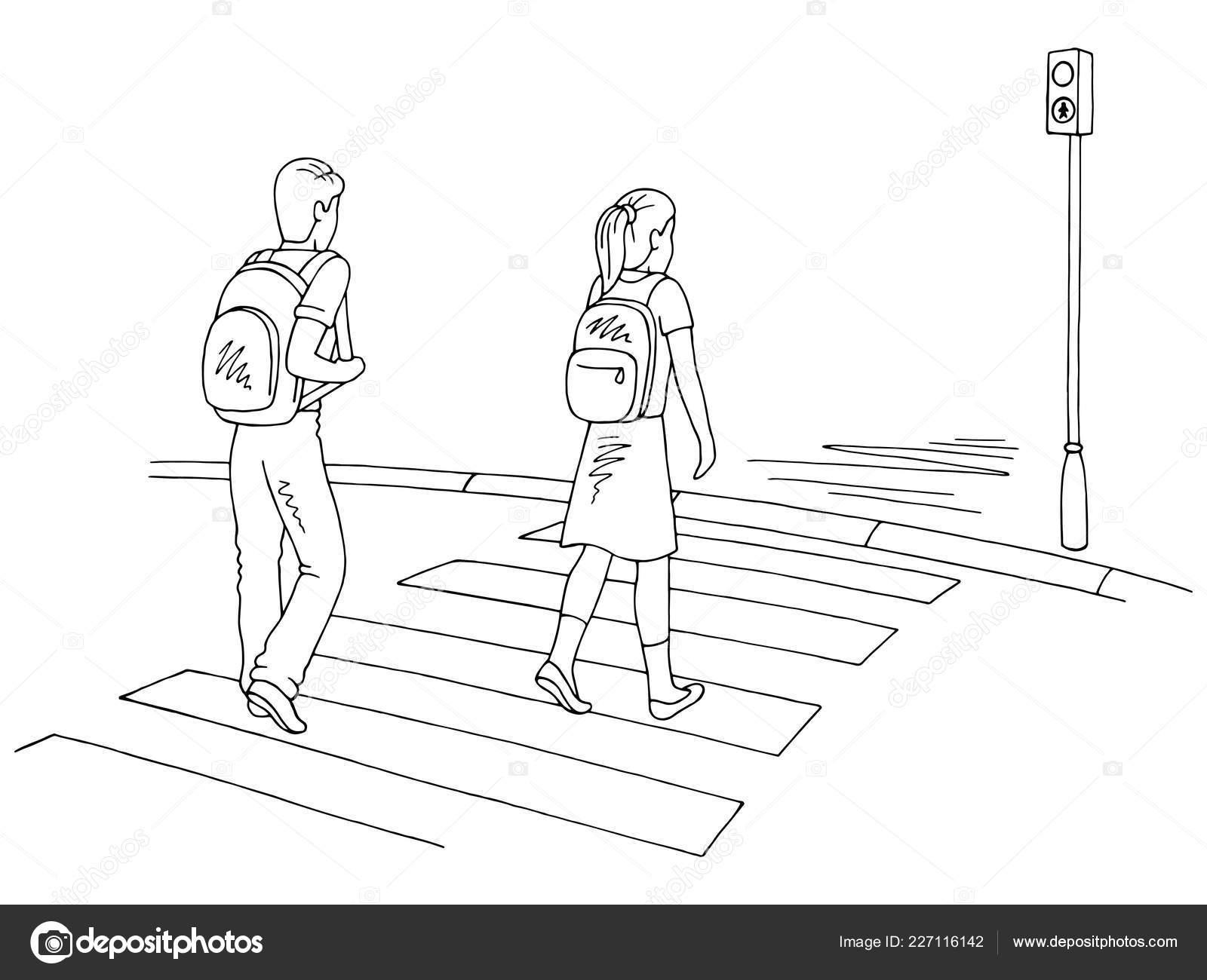 Ninos Caminando Calle Blanco Negro Grafico Paso Peatones