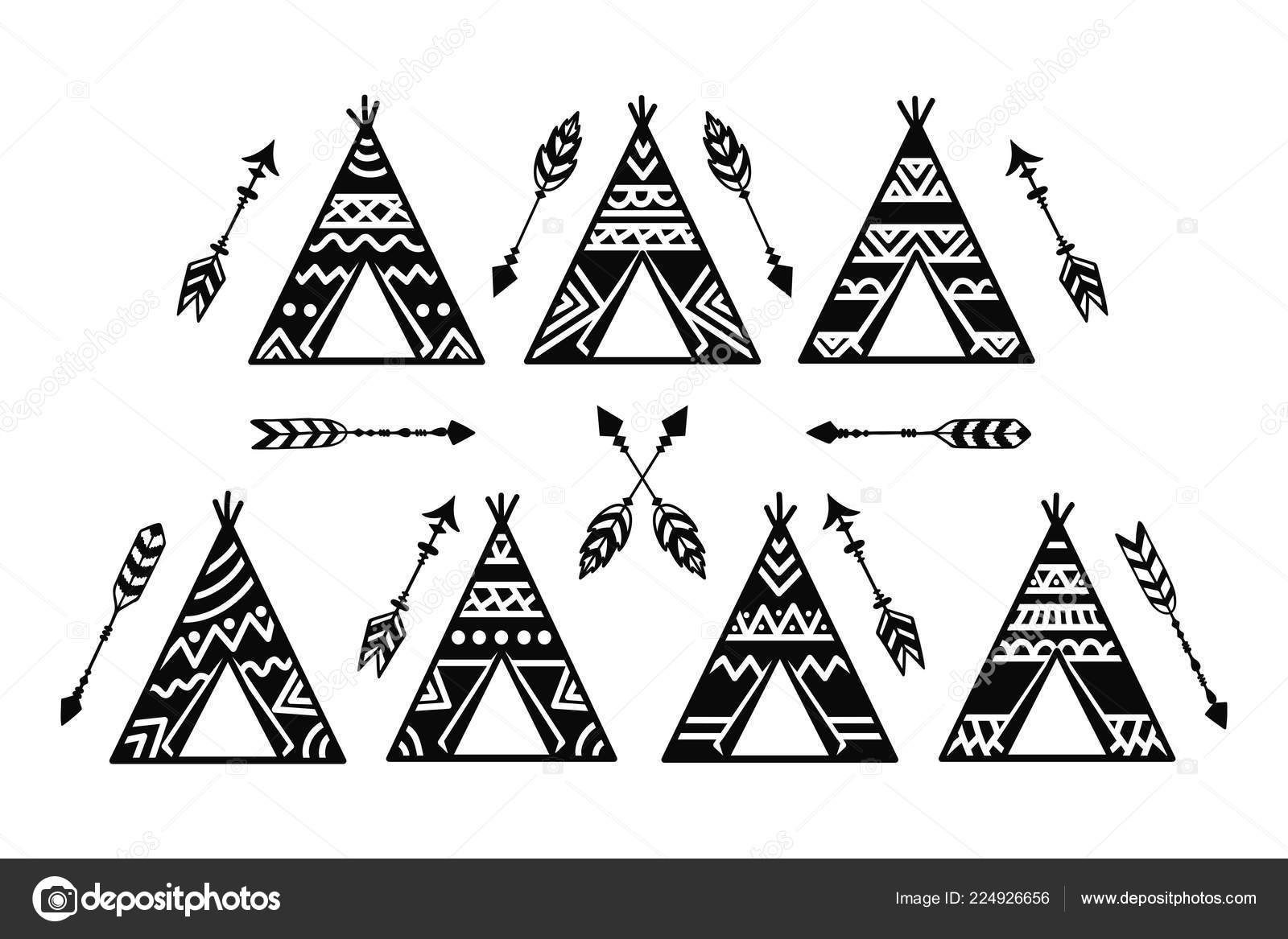 Teepee Tents And Arrows Tribal Tattoo Collection Wigwam