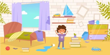 Childrens Room Dirty Messy Vector Cartoon Isolated Art White Background Stock