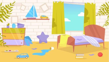 Childrens Room Dirty Messy Vector Cartoon Isolated Art On White Background