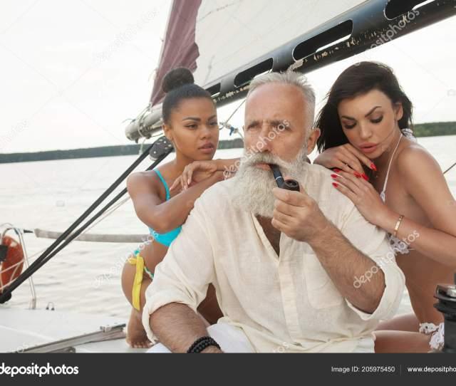 Portrait Happy Cheerful Old Man Girls Having Fun Sailboat Enjoying Stock Photo