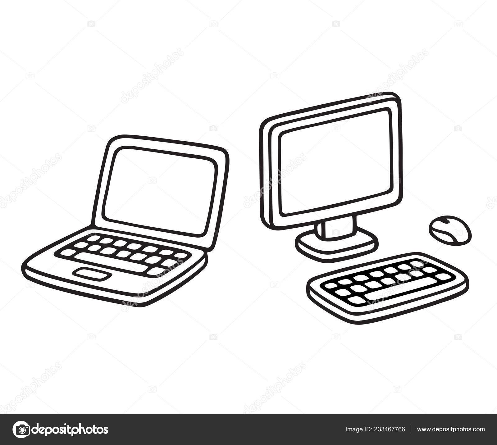 Laptop Desktop Sketch Icon Cartoon Computer Doodle