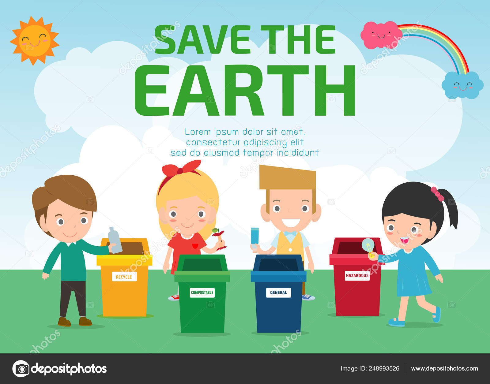 Images Save Earth Cartoon Kids Saving Earth World Planet Ecology Concept Cute Kid Cartoon Stock Vector C Phanuchat10700 Gmail Com 248993526