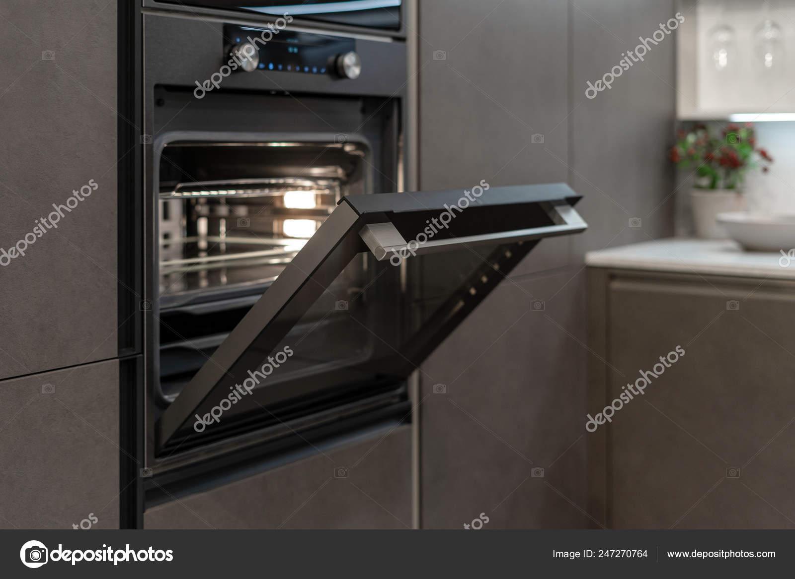 side view photo open door new modern built oven black stock photo image by c brizmaker 247270764