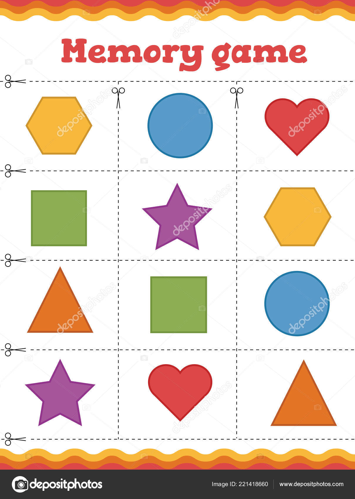 Memory Game For Preschool Children Learn Shapes And