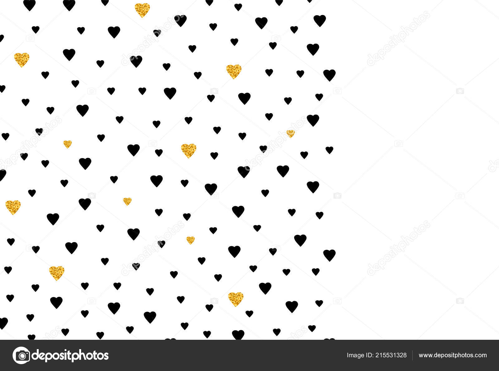 Background Black Gold Hearts Template Card Banner Poster