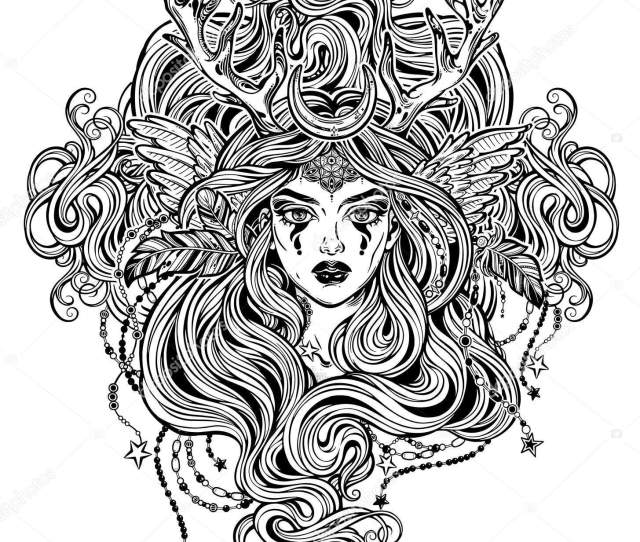 Shaman Elf Magic Woman With Deer Antlerss And Long Hair Stock Vector