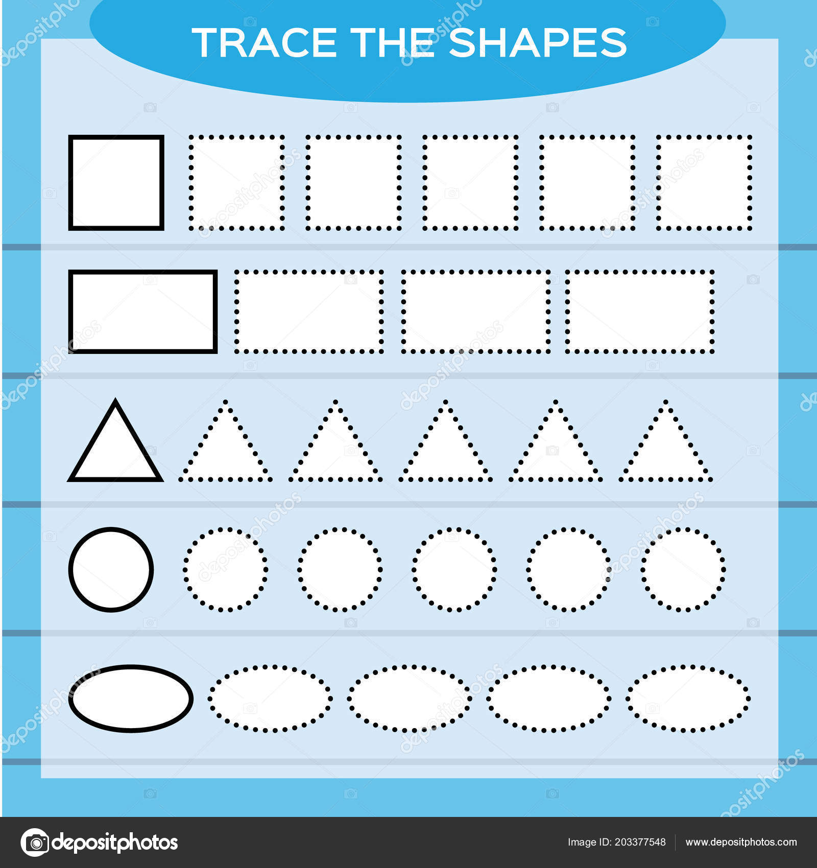 Trace Shapes Kids Education Preschool Worksheet Basic