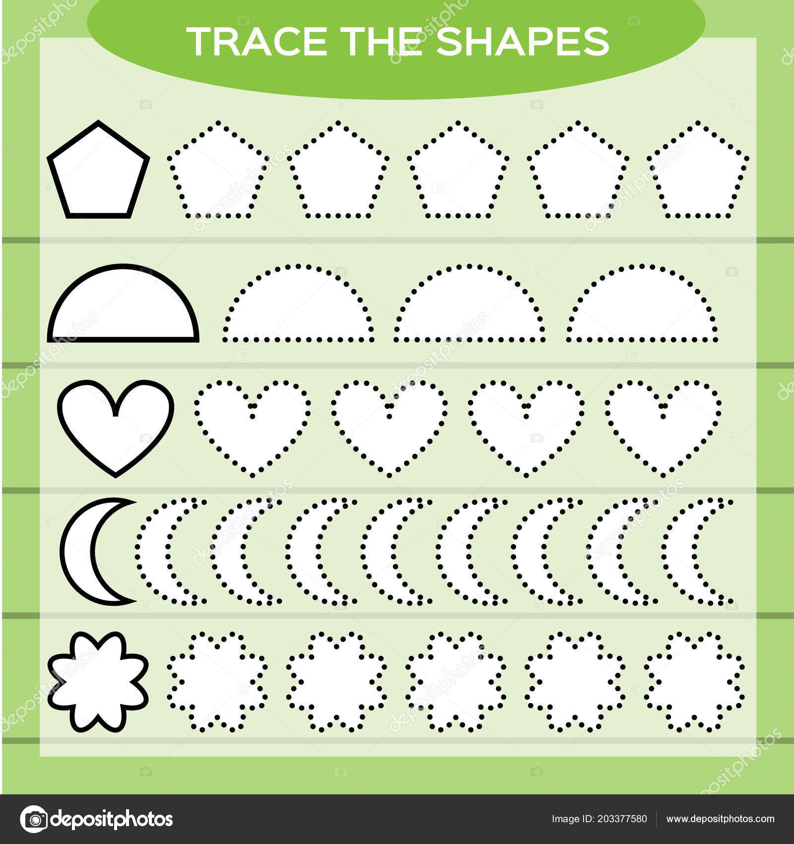 Trace Shapes Kids Education Preschool Worksheet Basic