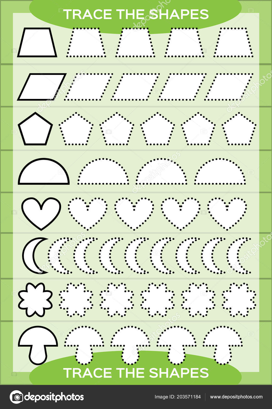Preschool Worksheet Trace Shapes Color Basic Writing Coloring Practice