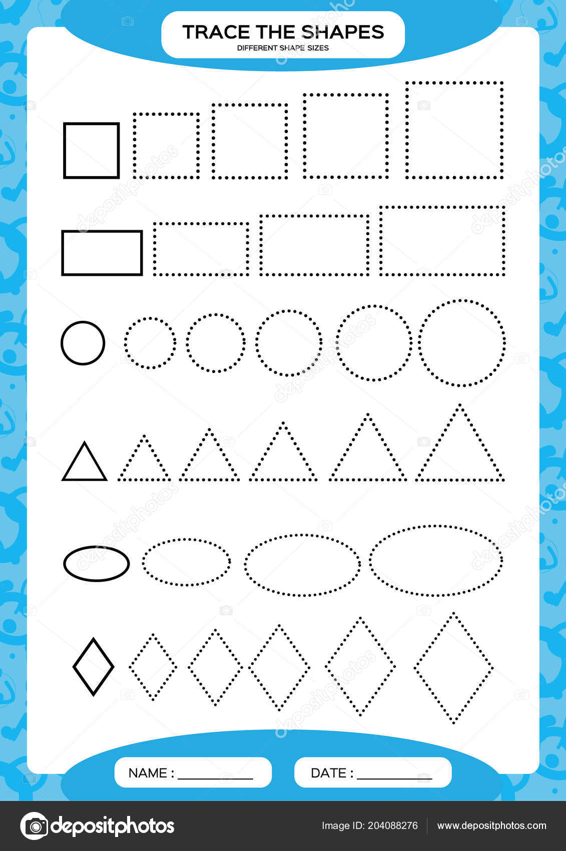 Different Shape Sizes Learning Basic Shapes Trace Draw Worksheet Preschool