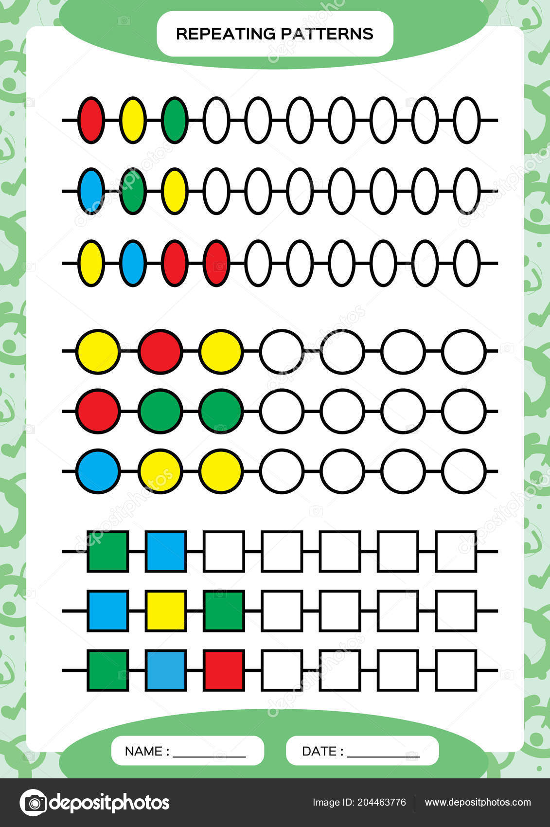 Complete Repeating Patterns Worksheet Preschool Kids