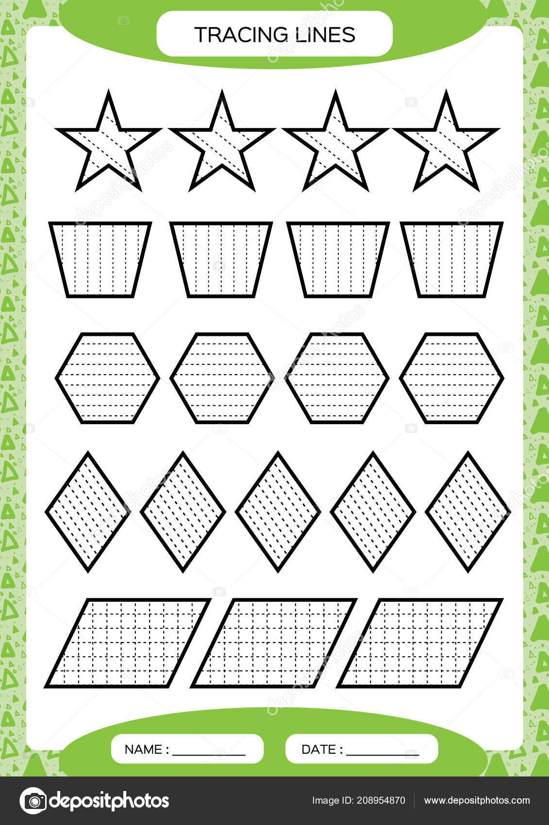 Pictures Trace Lines For Preschoolers