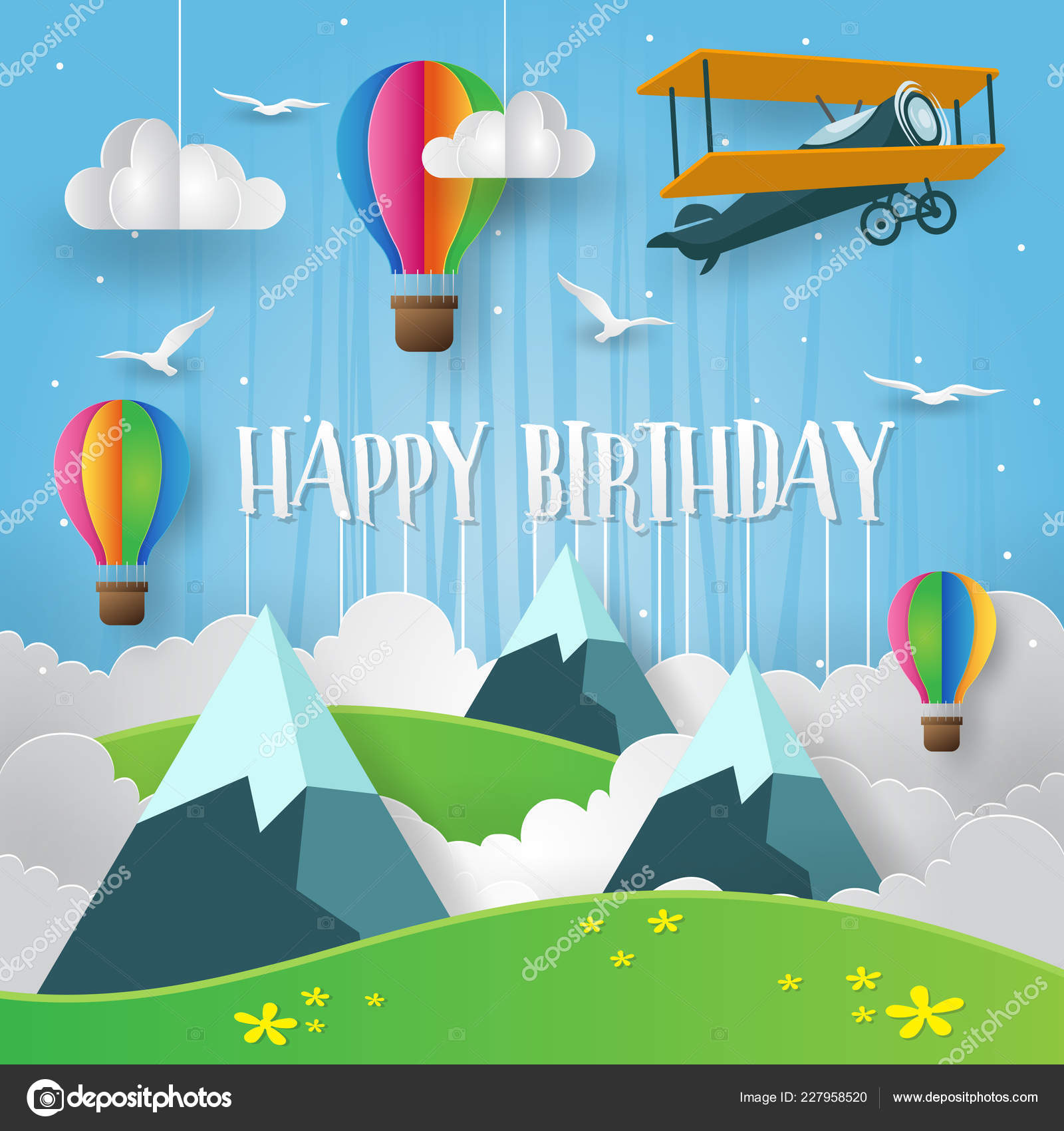 Modern Summer Back Nature Paper Art Style Happy Birthday Card Vector Image By C Naulicreative Vector Stock 227958520