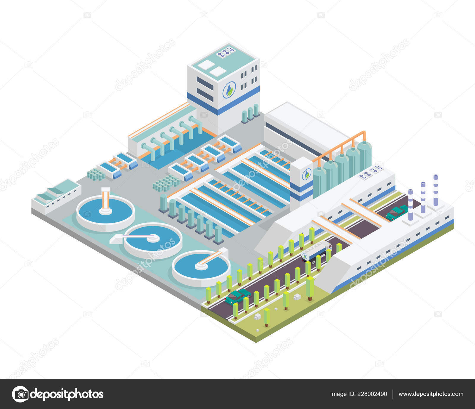 Modern Isometric Water Purification Plant Facilities