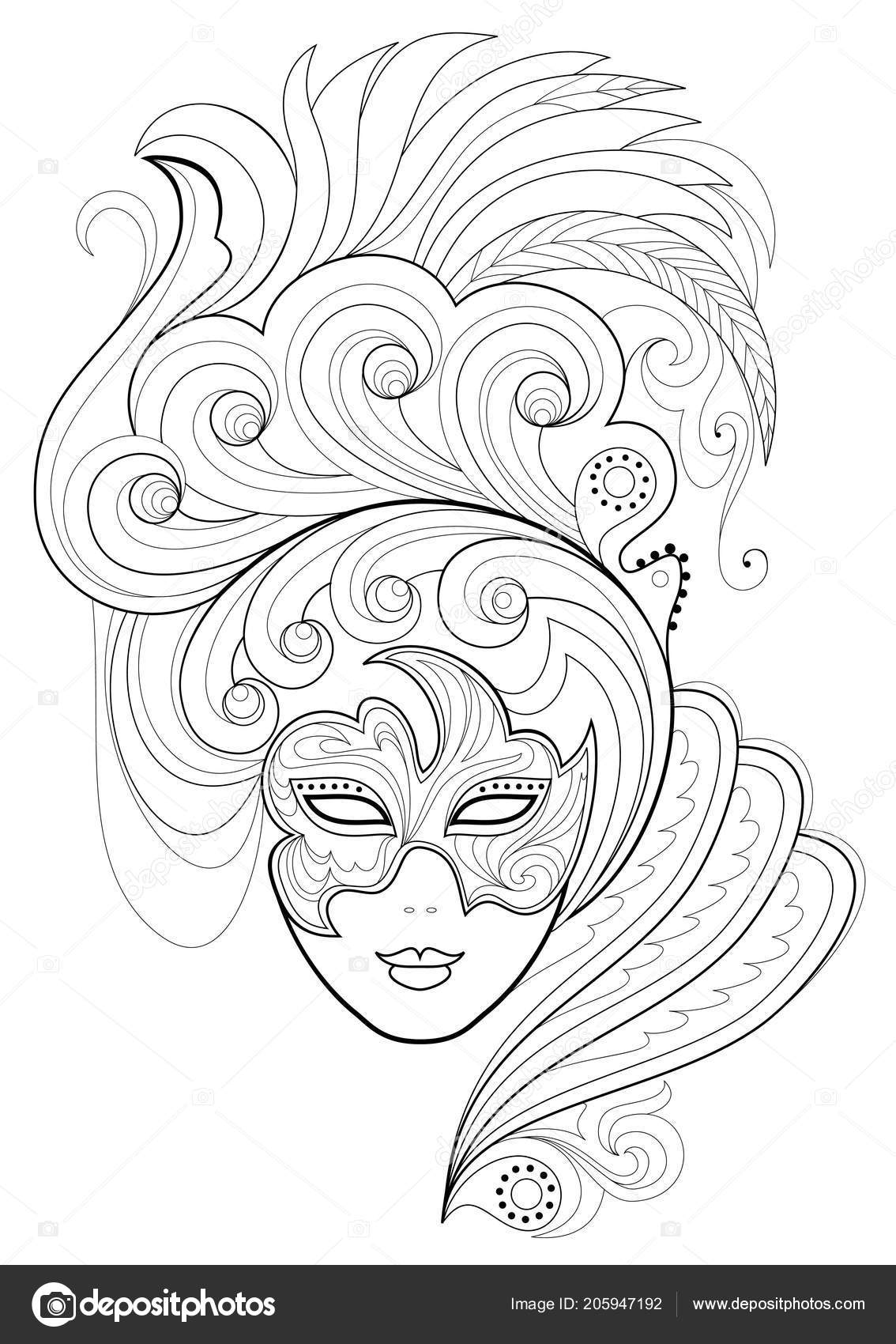 Black White Page Coloring Fantasy Drawing Woman Face
