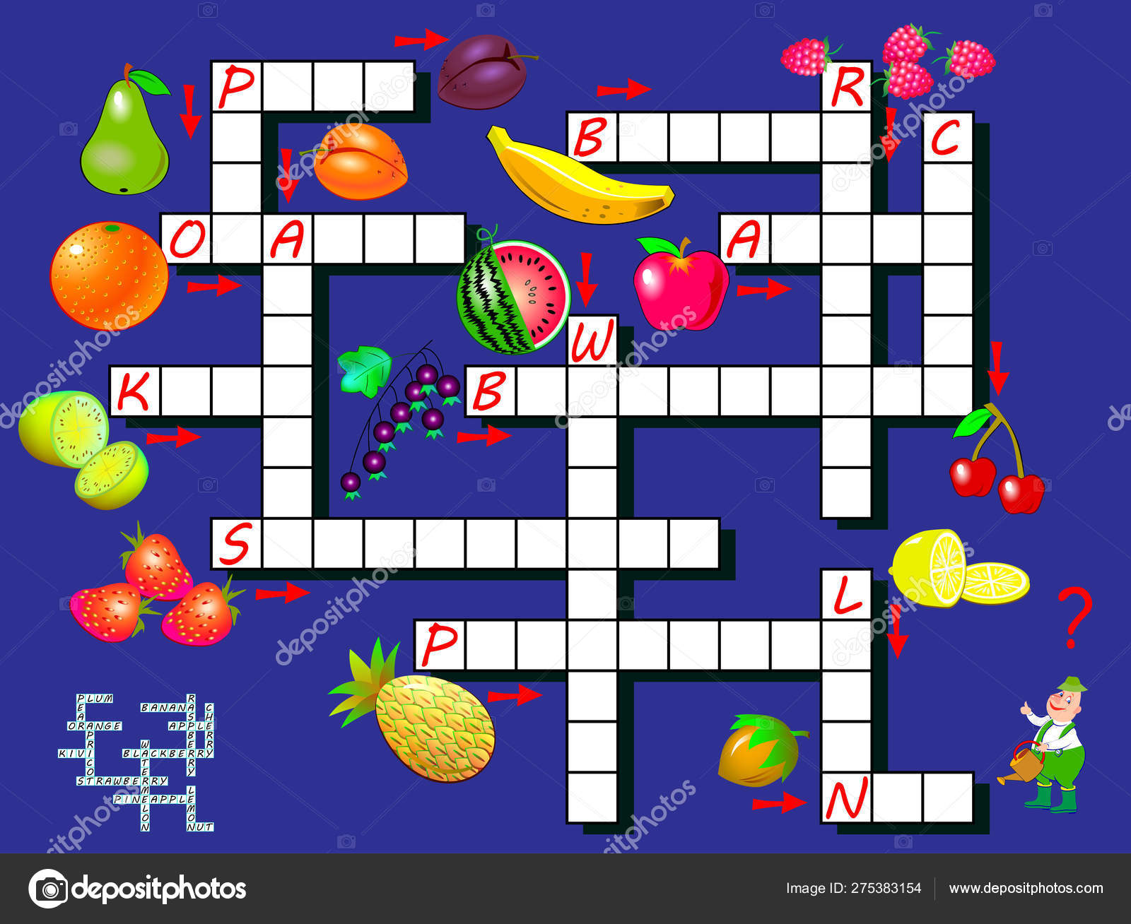 Crossword Puzzle Game Fruits Educational Page Children