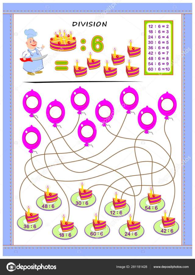Exercises Kids Division Table Number Solve Examples Write Answers