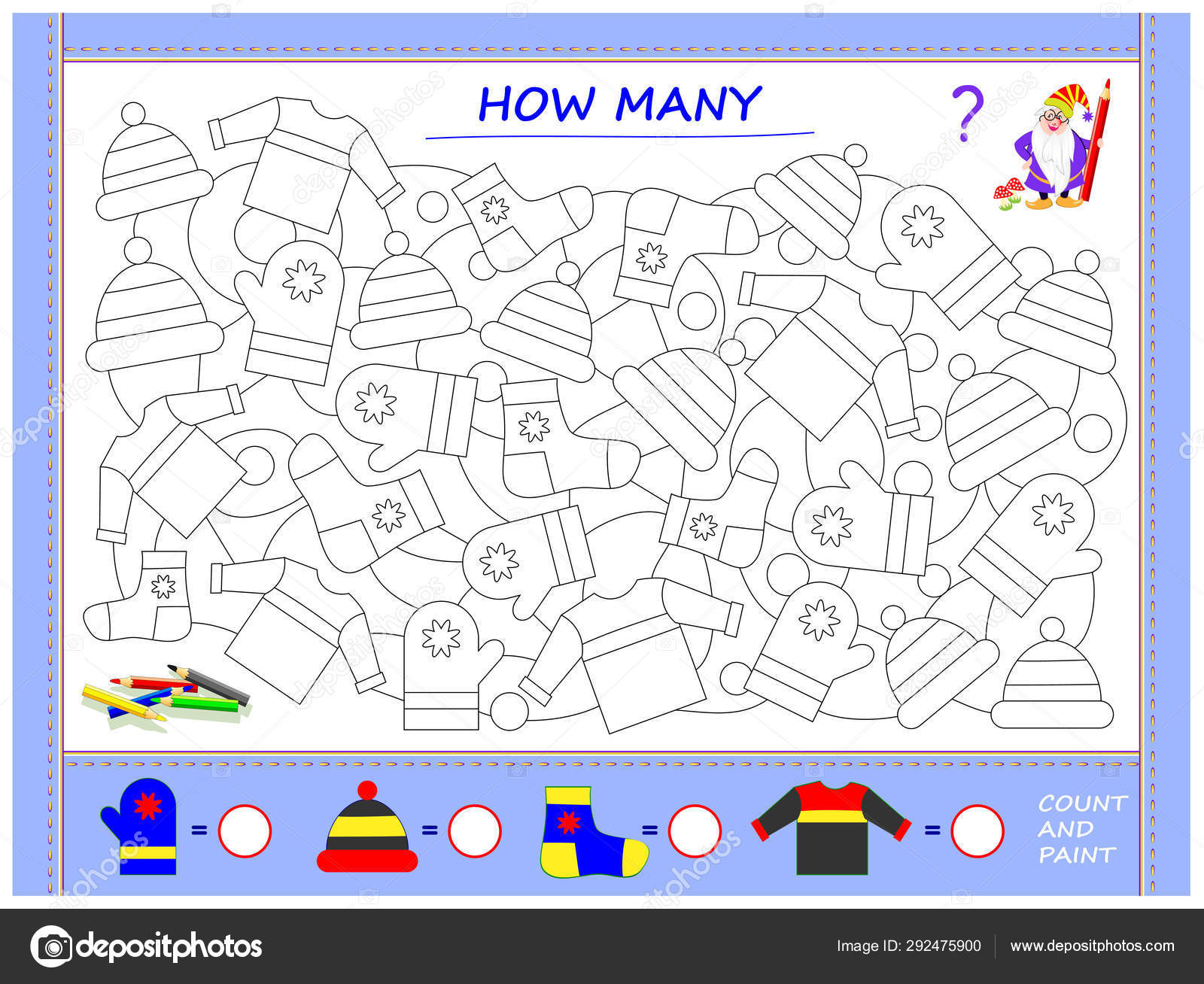Educational Page Little Children Math Find Clothes Paint