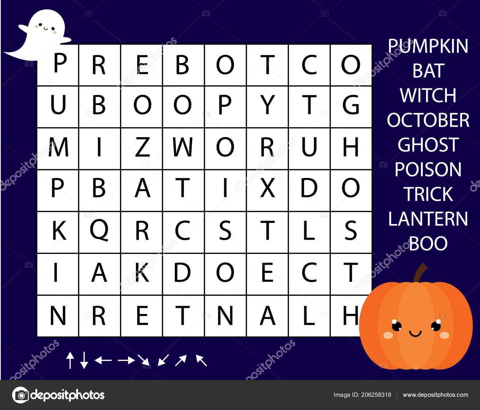 Educational Game Children Word Search Puzzle Kids Activity