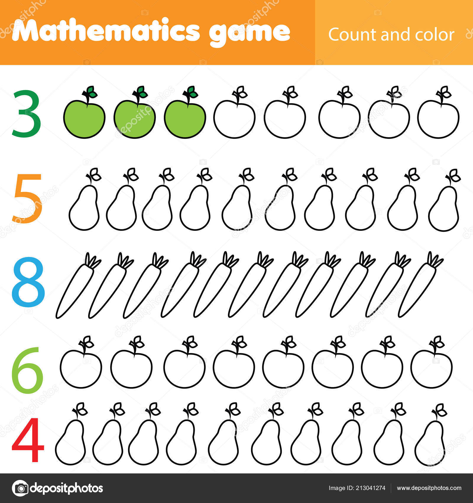 Mathematics Worksheet Kids Count Color Educational