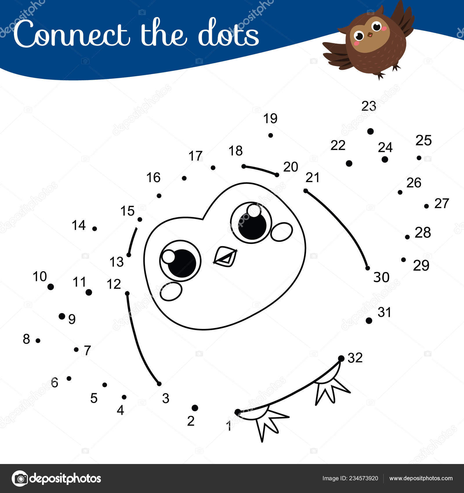 Children Educational Game Connect Dots Numbers Animals
