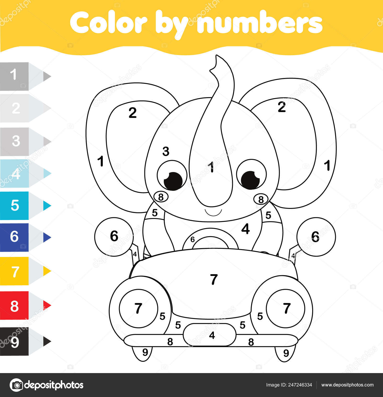 Coloring Page Kids Educational Children Game Color Numbers