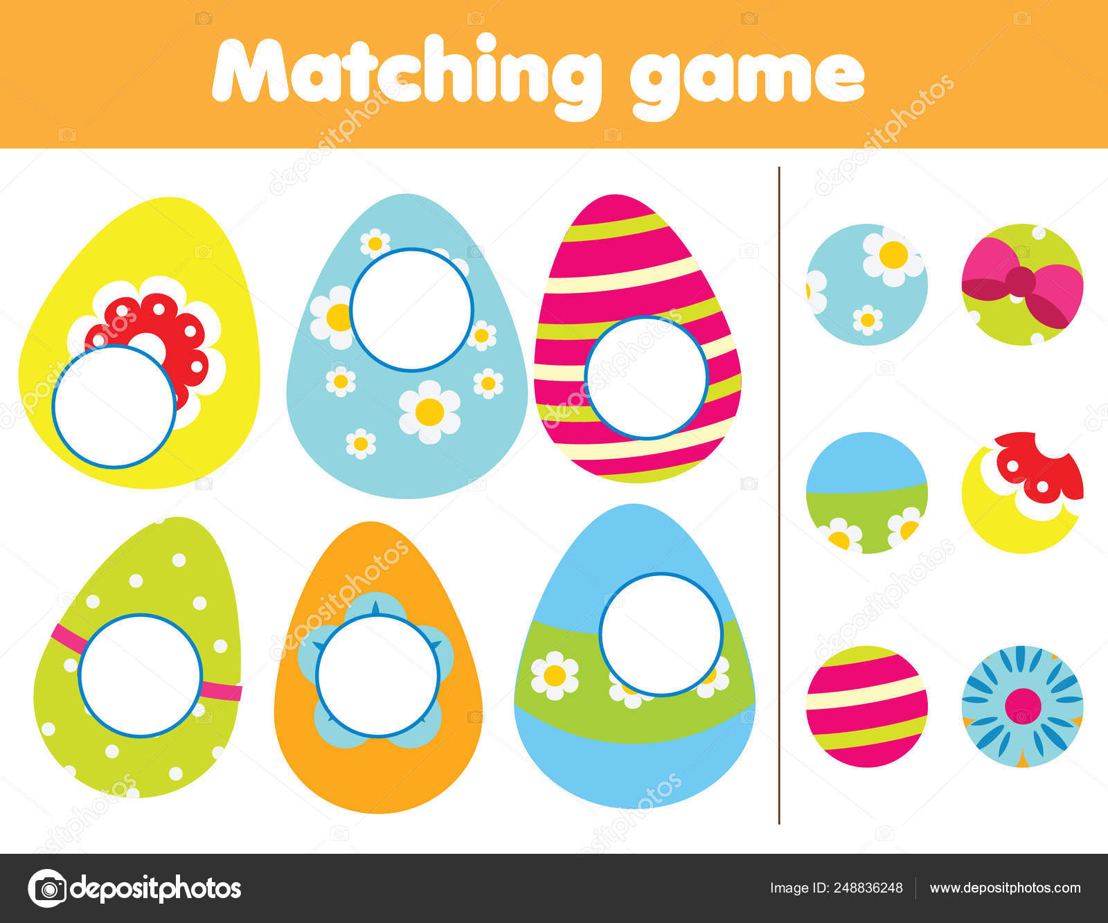 Matching Children Educational Game Find Missing Part Of